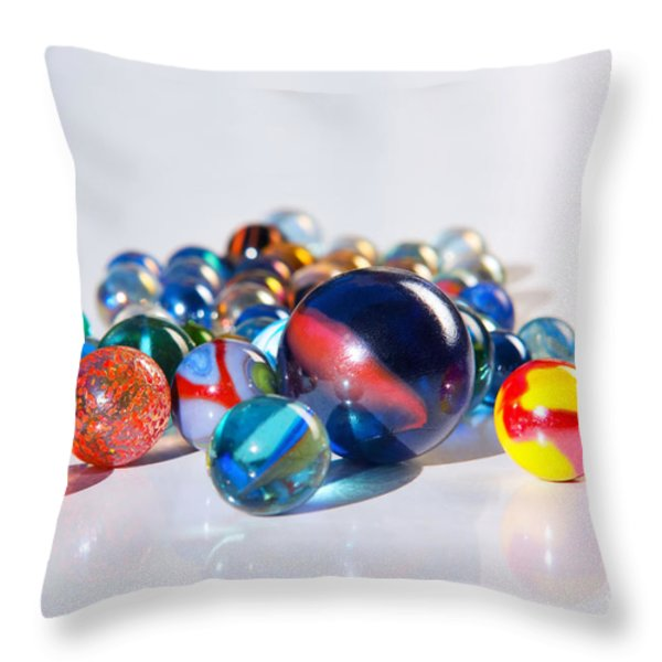 Colorful Marbles Throw Pillow by Carlos Caetano