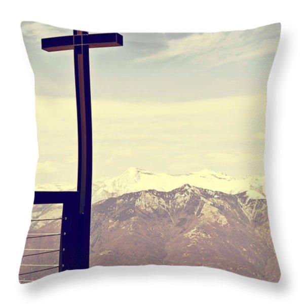 Cross In The Sky Throw Pillow by Joana Kruse