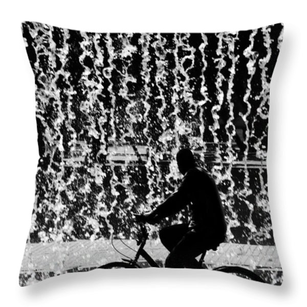 Cycling Silhouette Throw Pillow by Carlos Caetano