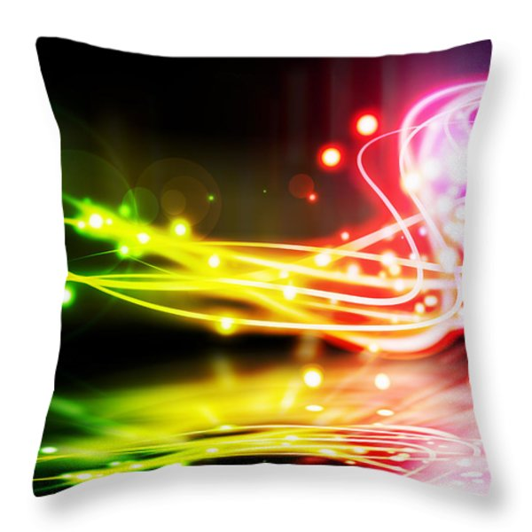 Dancing Lights Throw Pillow by Setsiri Silapasuwanchai