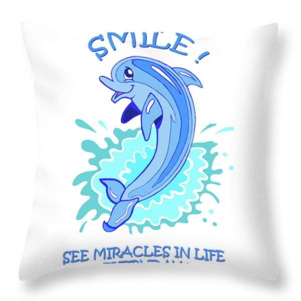 Darla The Dolphin Throw Pillow by John Keaton