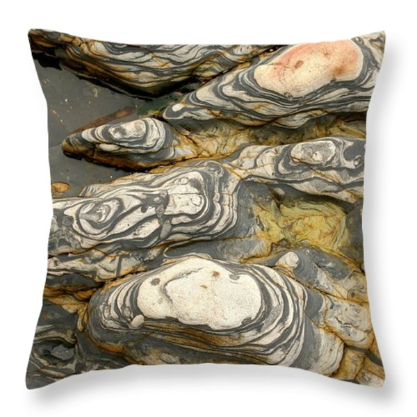 Detail Of Eroded Rocks Swirled Throw Pillow by Charles Kogod
