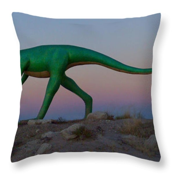 Dinosaur Loose on Route 66 Throw Pillow by Mike McGlothlen