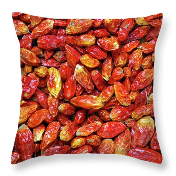 Dried Chili Peppers Throw Pillow by Carlos Caetano