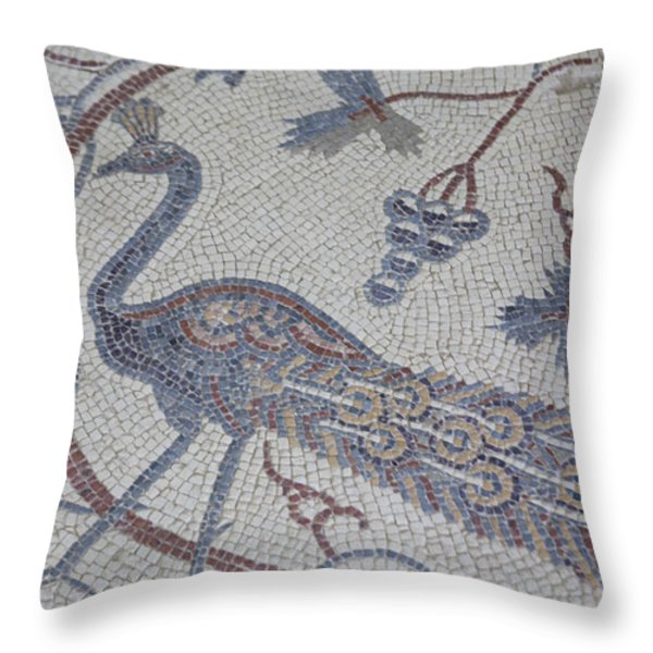 Early Christian Mosaic In The Ruins Throw Pillow by Taylor S. Kennedy
