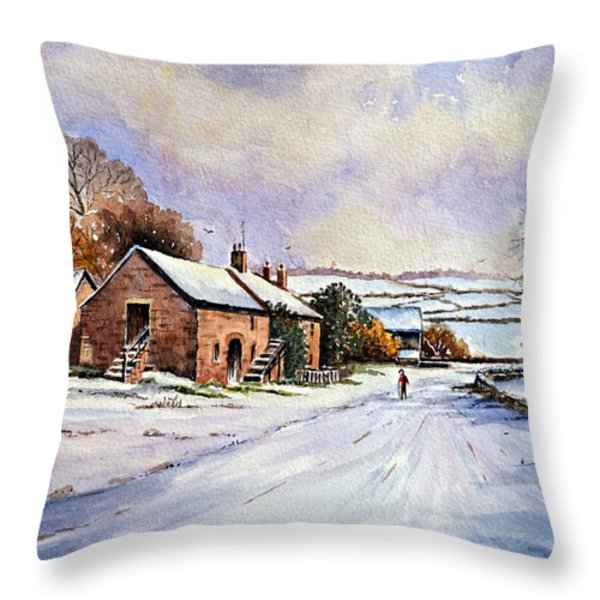 early morning snow Throw Pillow by Andrew Read
