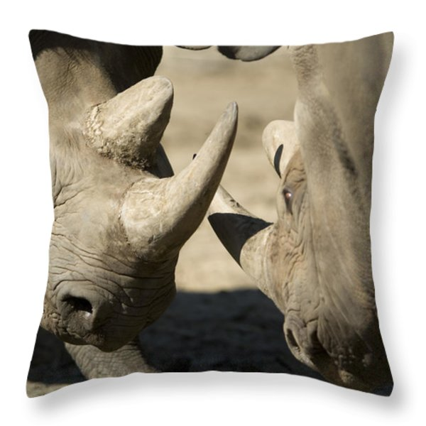 Eastern Black Rhinoceros Throw Pillow by Joel Sartore