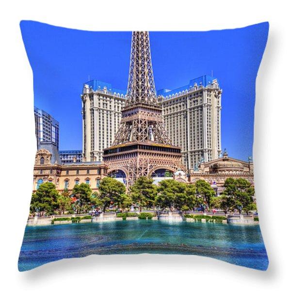 Eiffel Tower Las Vegas Throw Pillow by Nicholas  Grunas