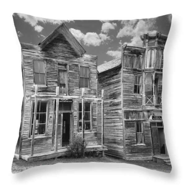Elkhorn Ghost Town Public Halls - Montana Throw Pillow by Daniel Hagerman