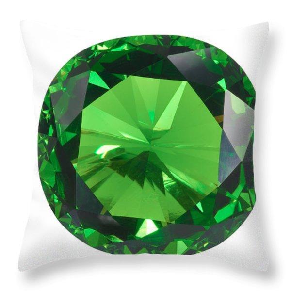 Emerald Isolated Throw Pillow by Atiketta Sangasaeng