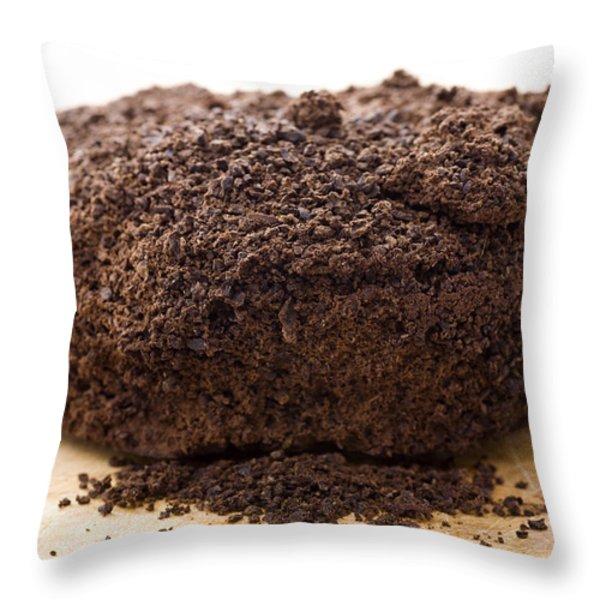 Espresso Coffee Grounds Throw Pillow by Frank Tschakert