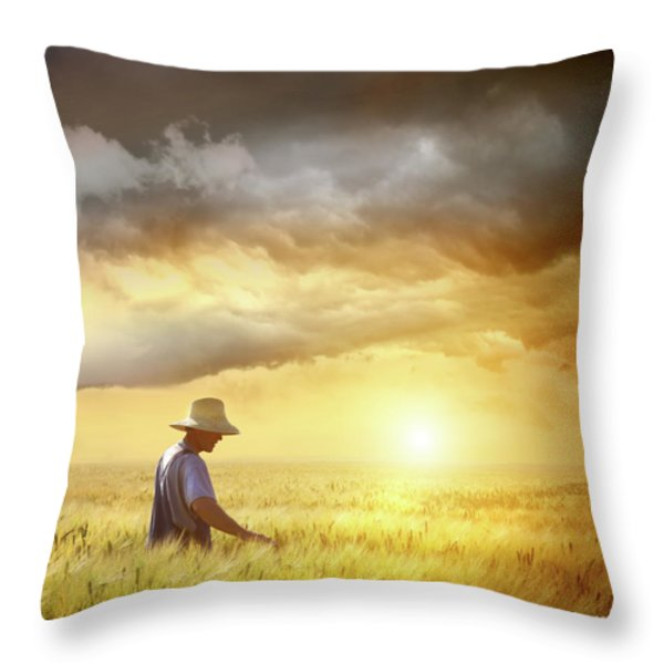 Farmer Checking His Crop Of Wheat Throw Pillow by Sandra Cunningham