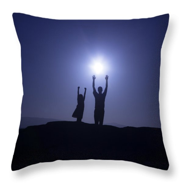 father and daughter Throw Pillow by Joana Kruse