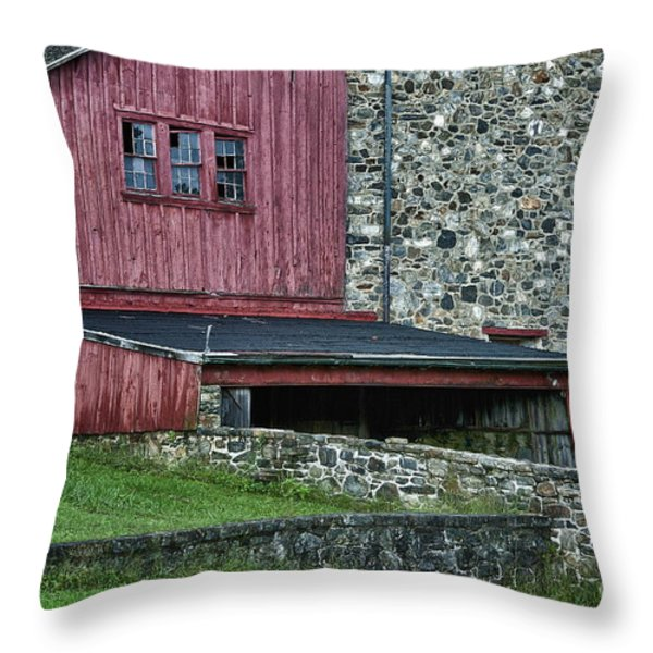 Field Stone Barn Throw Pillow by John Greim