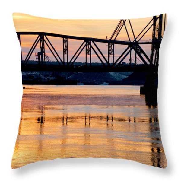 Fire on the Water Throw Pillow by Greg Fortier