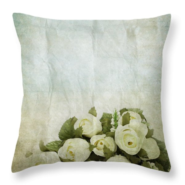 Floral Pattern On Old Paper Throw Pillow by Setsiri Silapasuwanchai