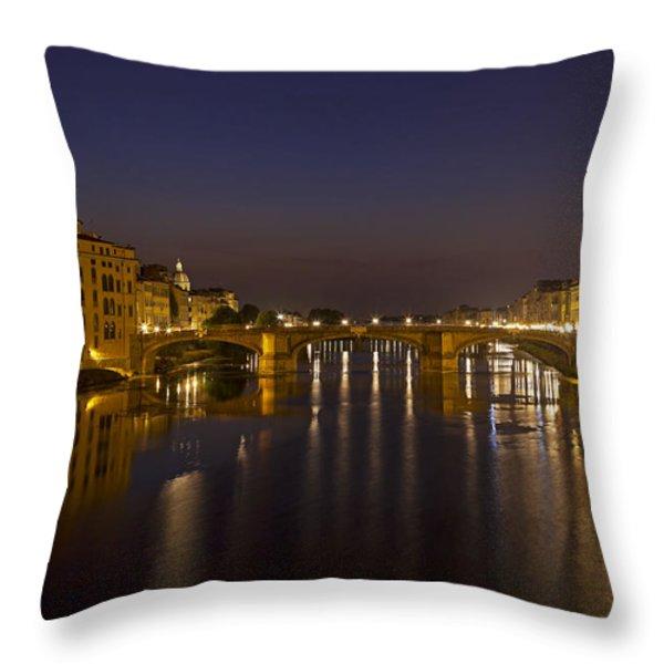 Florence - Ponte San Trinita Throw Pillow by Joana Kruse