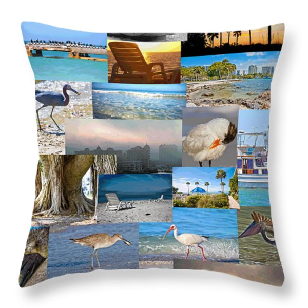 Florida Collage Throw Pillow by Betsy A  Cutler
