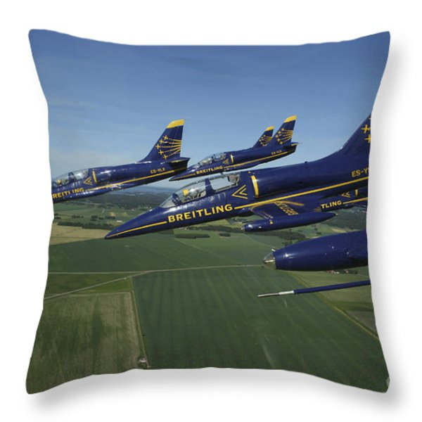 Flying With The Aero L-39 Albatros Throw Pillow by Daniel Karlsson