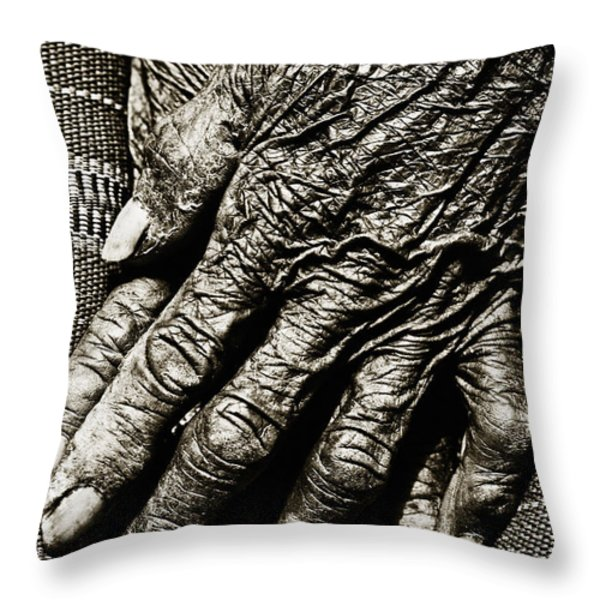 Folded Hands Throw Pillow by Skip Nall