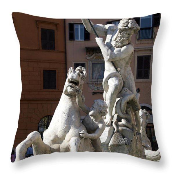 Fontana Del Nettuno. Neptune Fountain. Piazza Navona. Rome Throw Pillow by Bernard Jaubert