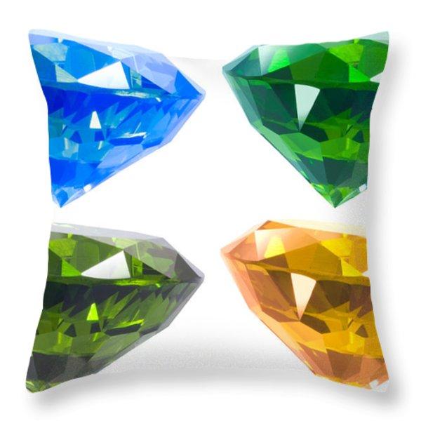 Four diamond Throw Pillow by ATIKETTA SANGASAENG