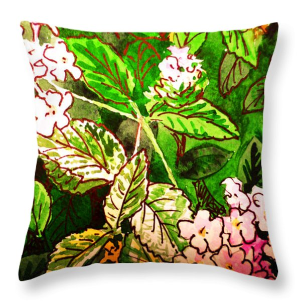 Garden Flowers Sketchbook Project Down My Street Throw Pillow by Irina Sztukowski