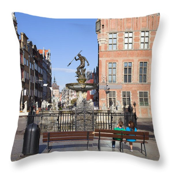 Gdansk Old Town Throw Pillow by Artur Bogacki