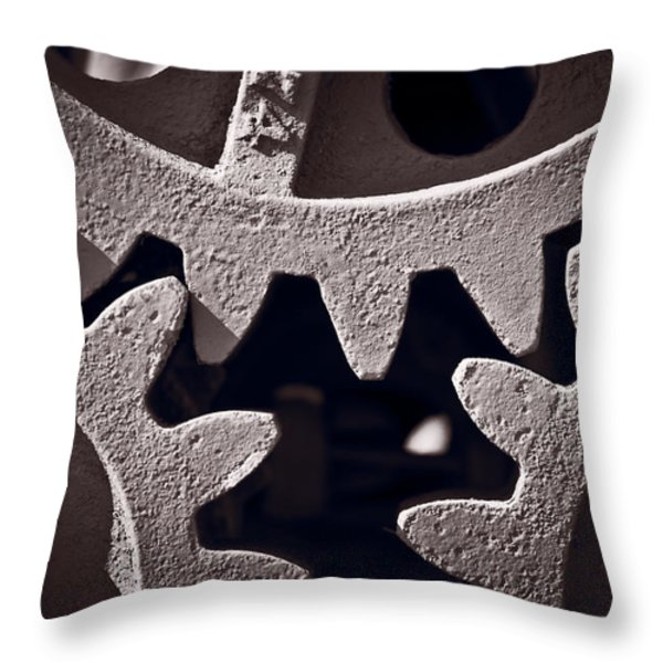 Gears Number 2 Throw Pillow by Steve Gadomski