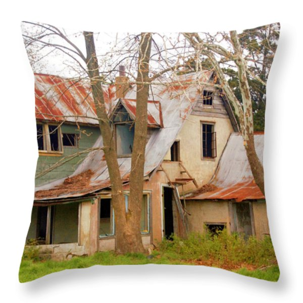 Haunted House Throw Pillow by Marty Koch