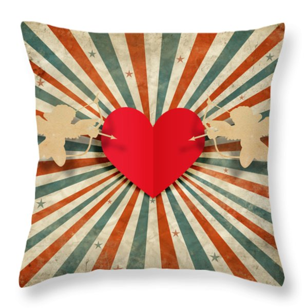 Heart And Cupid With Ray Background Throw Pillow by Setsiri Silapasuwanchai