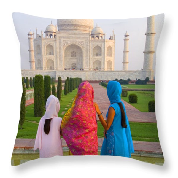 Hindu women at the Taj Mahal Throw Pillow by Bill Bachmann - Printscapes