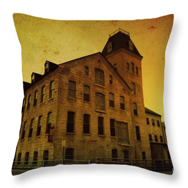 Historic Fox River Mills Throw Pillow by Joel Witmeyer