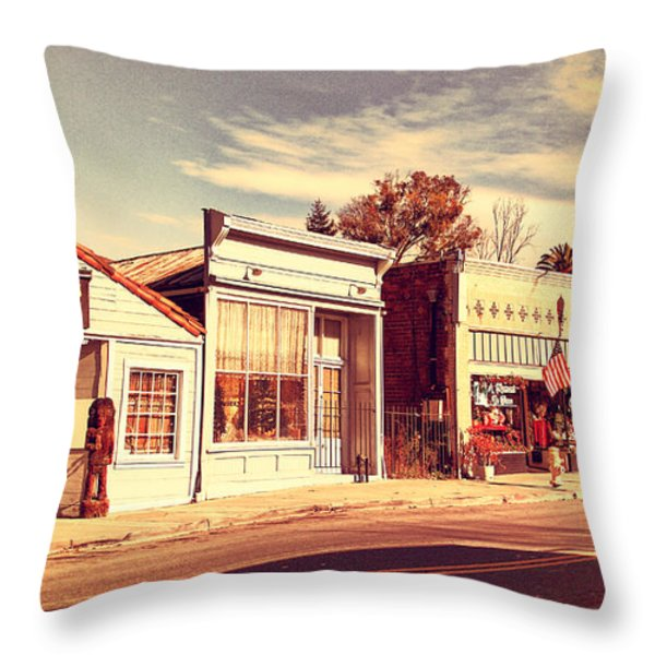 Historic Niles District in California Near Fremont . Main Street . Niles Boulevard . 7D10676 Throw Pillow by Wingsdomain Art and Photography