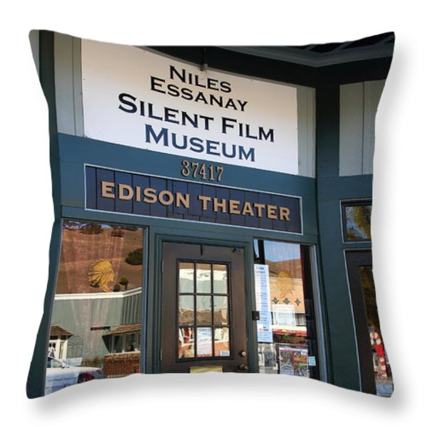 Historic Niles District in California Near Fremont . Niles Essanay Silent Film Museum Edison Theater Throw Pillow by Wingsdomain Art and Photography