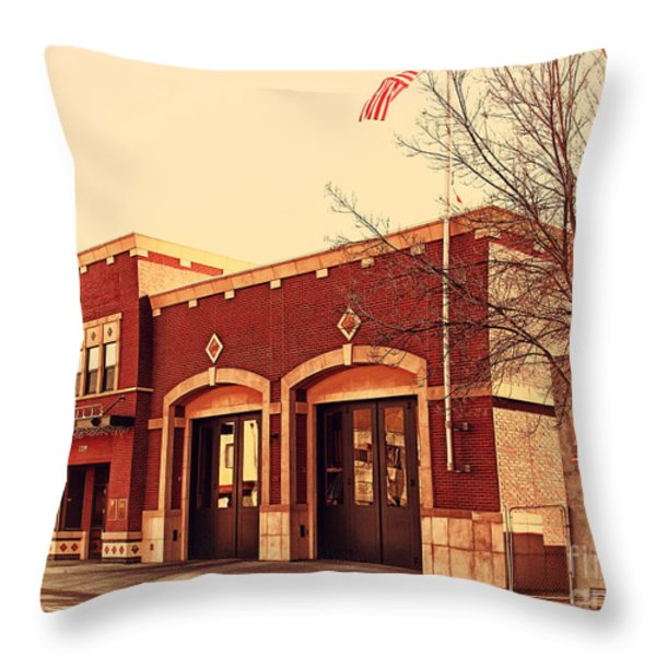 Historic Niles District In California Near Fremont . Niles Fire Station Number 2 . 7d10732 Throw Pillow by Wingsdomain Art and Photography