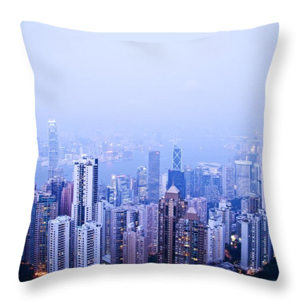 Hong Kong Skyline Throw Pillow by Ray Laskowitz - Printscapes