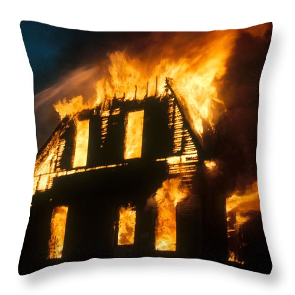 House On Fire Throw Pillow by Photo Researchers, Inc.