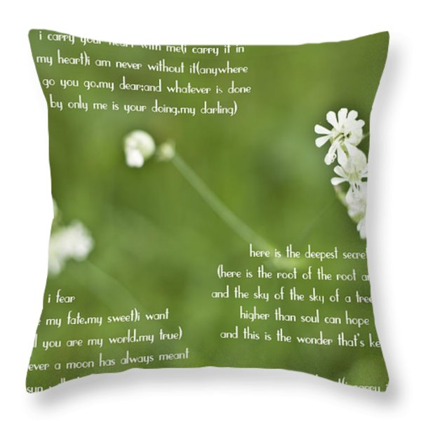 I Carry Your Heart Throw Pillow by Nomad Art And  Design