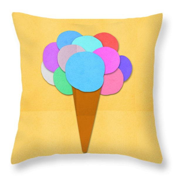 Ice Cream On Hand Made Paper Throw Pillow by Setsiri Silapasuwanchai