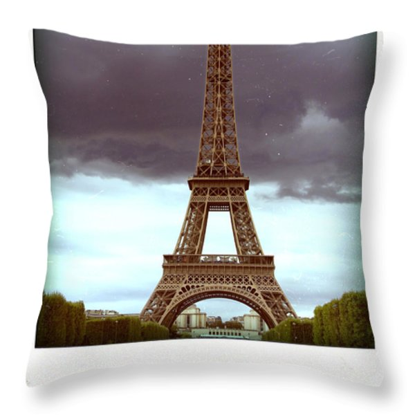 Illustration Of Eiffel Tower Throw Pillow by Bernard Jaubert
