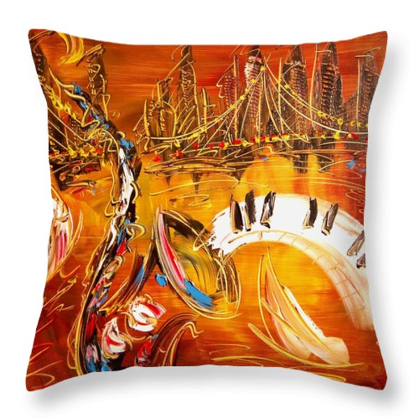 Jazz City Throw Pillow by Mark Kazav