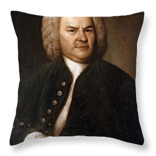 Johann Sebastian Bach, German Baroque Throw Pillow by Photo Researchers
