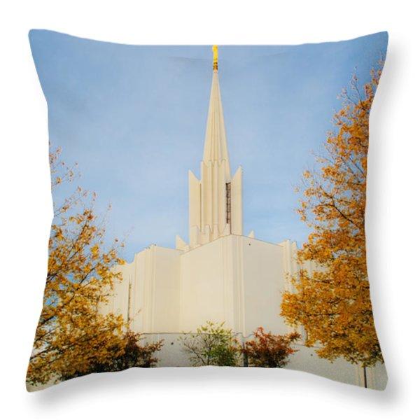 Jordan River Temple Throw Pillow by La Rae  Roberts