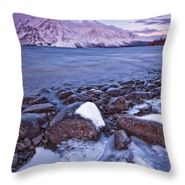 Kathleen Lake At Sunrise, Kluane Throw Pillow by Robert Postma