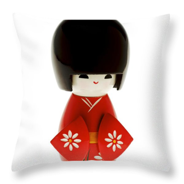 Kokeshi Doll Throw Pillow by Larry Dale Gordon - Printscapes
