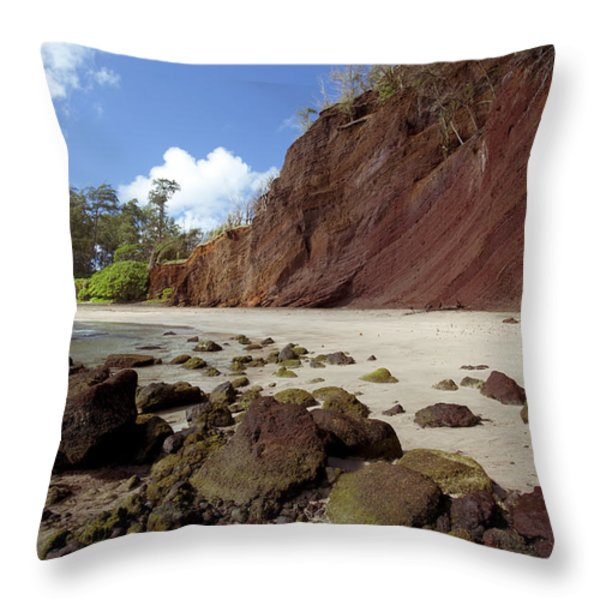 Koki Beach Throw Pillow by Jenna Szerlag