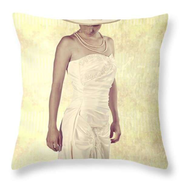 Lady in white dress Throw Pillow by Joana Kruse