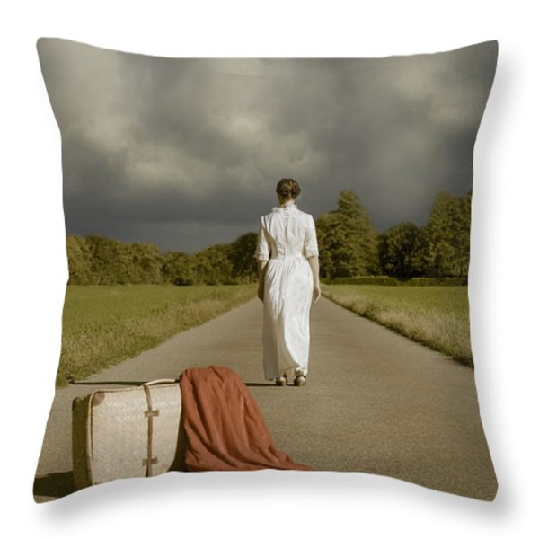lady on the road Throw Pillow by Joana Kruse