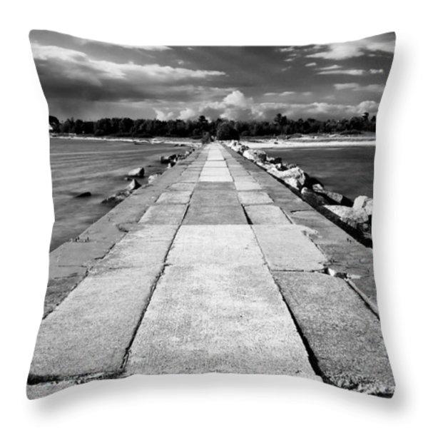 Lake Michigan Jetty Throw Pillow by Tanya Harrison